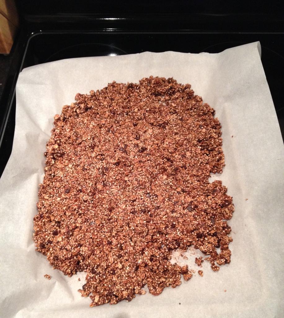 Healthy granola spread on parchment