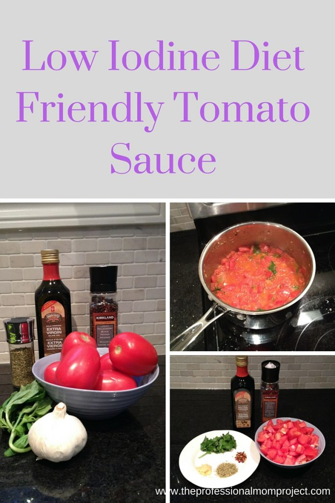 Low iodine diet friendly tomato sauce by The Professional Mom Project - fresh, healthy and perfect for a family meal