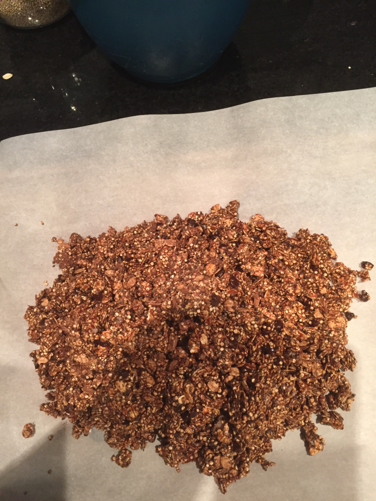 before baking healthy chocolate granola