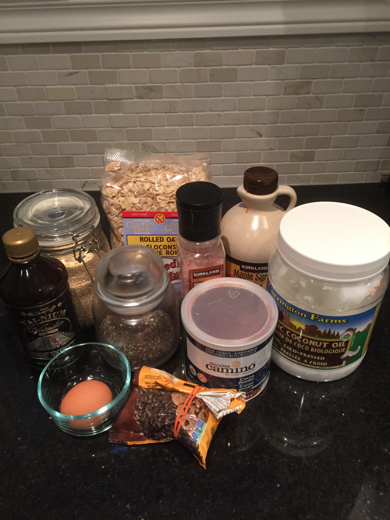 ingredients to make homemade healthy chocolate granola