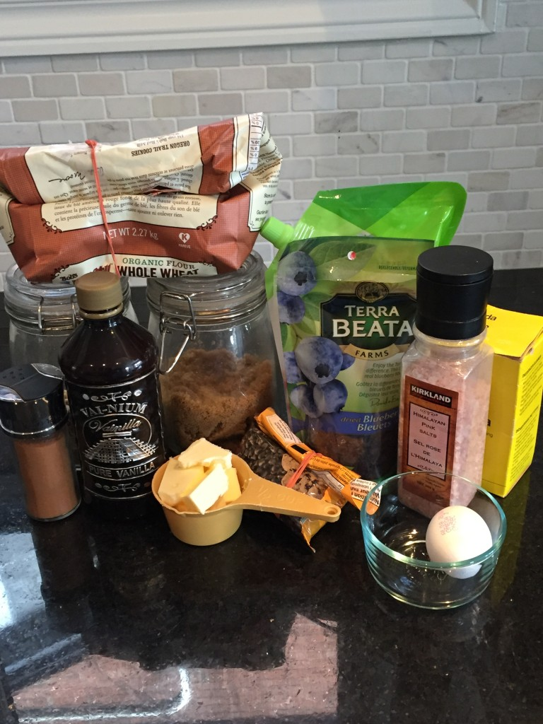 Ingredients for whole wheat oatmeal chocolate chip cookies
