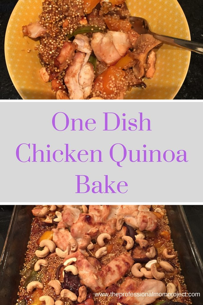 One Dish Chicken Quinoa Bake with Veggies and Cashews. A simple and healthy meal from The Professional Mom Project
