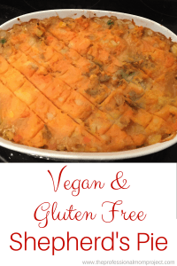 This gluten free and vegan shepherds pie is healthy, easy to make and delicious. Try this vegetarian dish tonight! From The Professional Mom Project