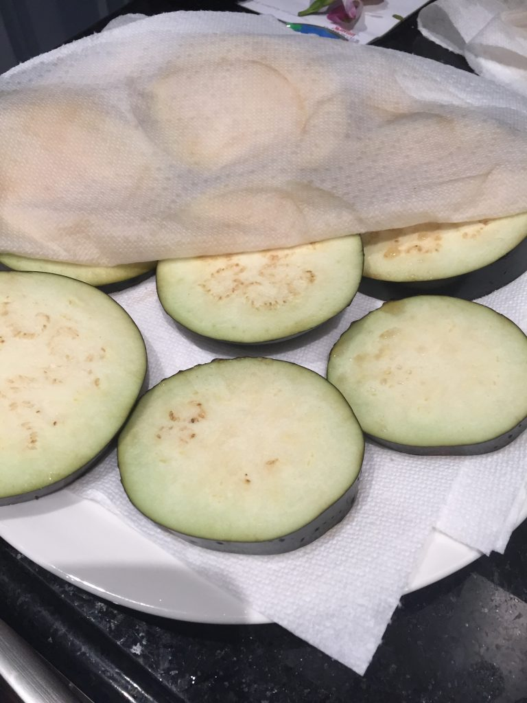 Salted eggplant for gluten free eggplant parmesan