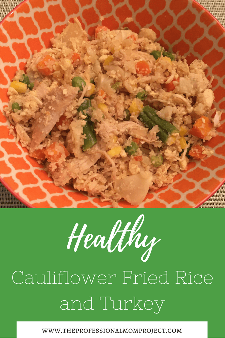 Healthy Cauliflower Fried Rice with Leftover Turkey - a great dinner idea! Family dinner | healthy recipe | what to do with leftover turkey | gluten free dinner idea