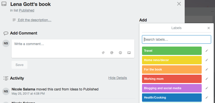 How to use trello for blogging. adding labels to your action items